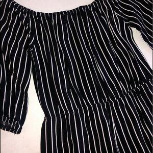 Forever 21 Black and White Striped Romper Size L